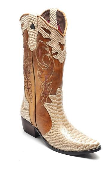 Bota Cavalgada Feminina Country Texana Rodeio Couro