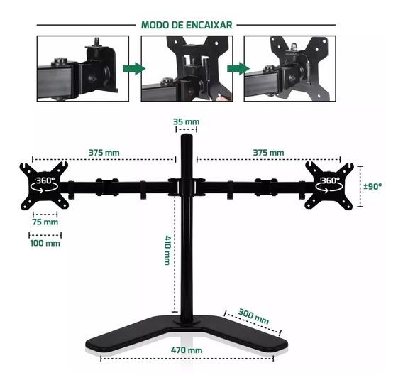 Suporte Articulado Duplo D/mesa 2 Monitores 17-32 Led Lcd Tv