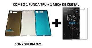 Combo Funda Protector Tpu Flexible Sony Xz1 + Templado