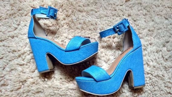 Sandalia Salto Grosso Com Fivela Azul Jeans