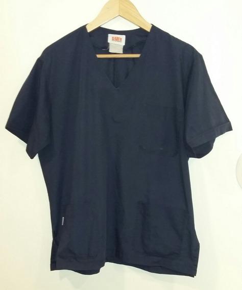 Camisa Azul Saber Con Dos Tajitos Laterales Talle M Mío