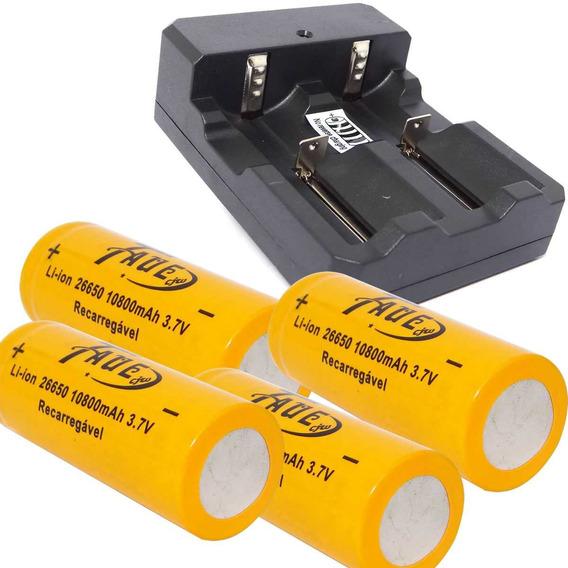 Carregador Duplo P/ Bateria 26650+ 4 Bateria 26650 3.7v
