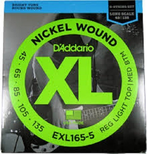 Encordoamento Baixo D'addario Exl165-5 Nickel Wound 5 Cordas
