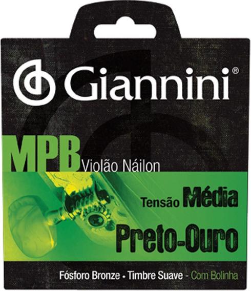 Jogo De Cordas P Violão Giannini Mpb Náilon Bolinha - Genwbg