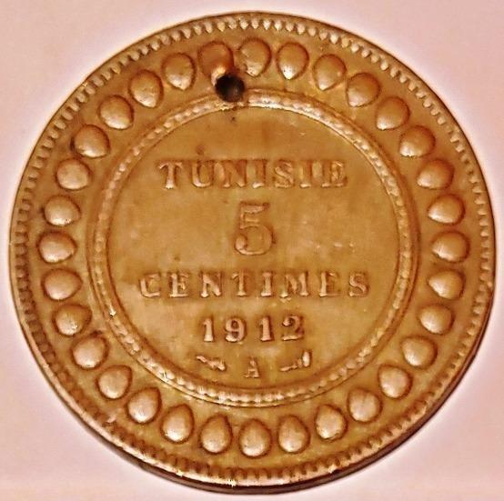 Tunez 1912 5 Centimes Moneda Antigua L24720