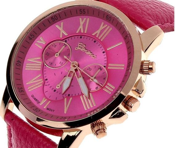 Relógio Feminino Geneva Pulseira De Couro Barato