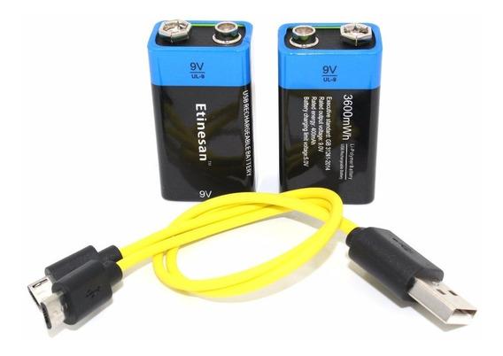 Bateria Recarregável 9 Vts Usb 3600mwh Kit Cabo E 2 Baterias