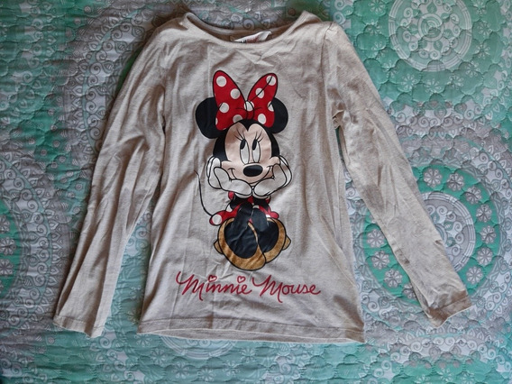 Playera Manga Larga De Minnie Mouse De Niña H&m Talla 6-8