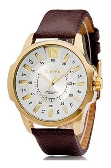 Relógio Masculino Curren Dourado 1 Ano De Garantia 12x S/ju