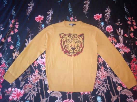 Suéter Color Amarillo Mostaza Bordado De Tigre Animal Print