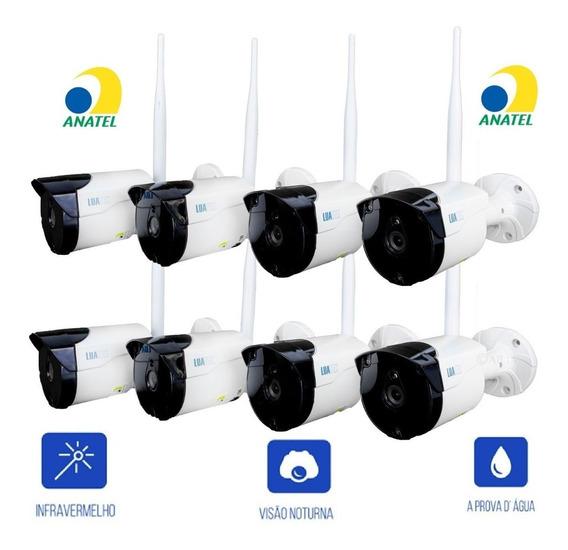 Kit C/8 Câmeras De Segurança Wifi 720p Empresas Residências