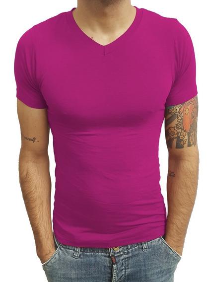 Blusa Camisa Masculina Decote Em V Rasa Manga Curta