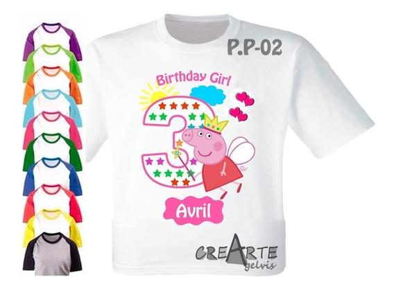 Peppa Pig Franela Camisa Personalizada Cotillon