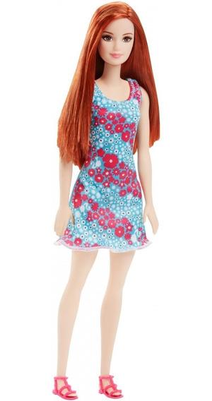 Boneca Barbie Ruiva Fashion Vestido Verde Florido - T7439