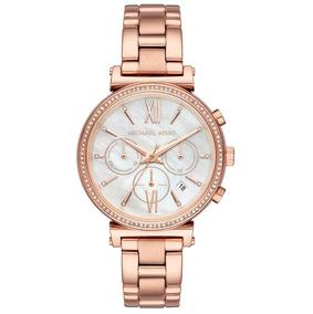 Relógio Michael Kors Feminino Rosê Pedras Mk6576/1jn
