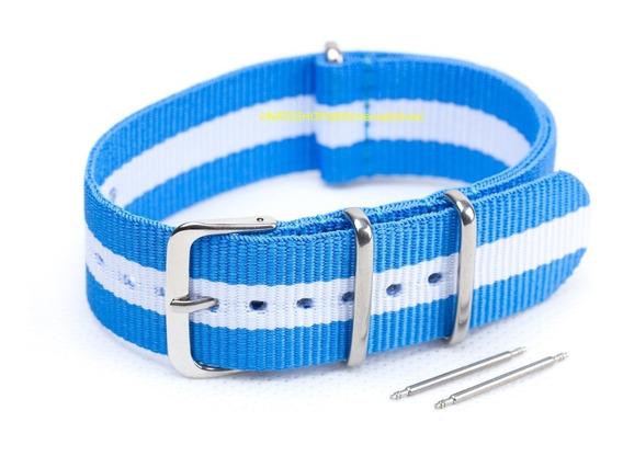Pulseira Relógio Nato Nylon 22mm Azul Claro Branco 3 Anéis