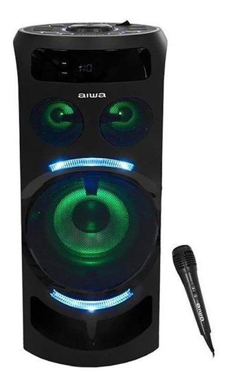 Caixa De Som Aiwa 300w Bt/usb/fm/aux + Microfone - Preto