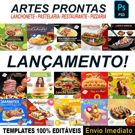 Pack Artes Prontas Pizza Esfirra Pastel - Editável + Bônus