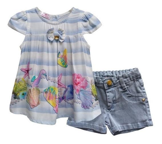 Roupas De Bebê Menina Conjunto Blusa Short Jeans Blogueira