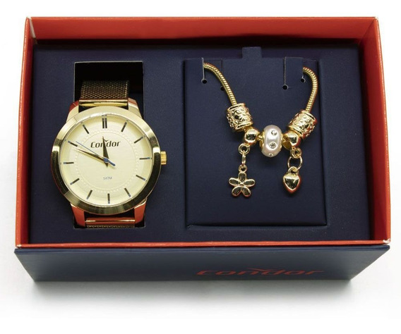 Kit Relógio Condor Feminino Co2036kvz/k4x Dourado