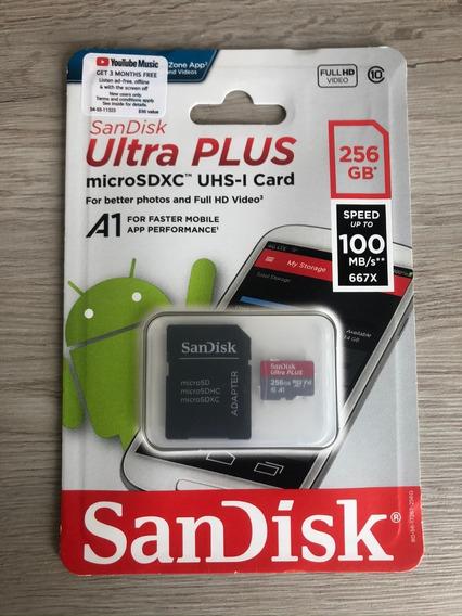 Cartão De Memória Sandisk Ultra Plus Micro Sd 256gb 100mb/s