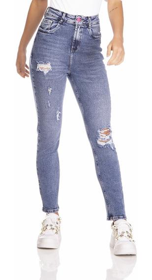 Calça Jeans Denim Zero Mom Fit Vintage Com Puídos-dz3232
