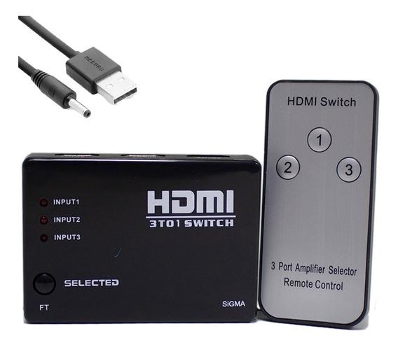 Chave Seletora Switch Hdmi 3x1 C/ Controle Remoto Barato