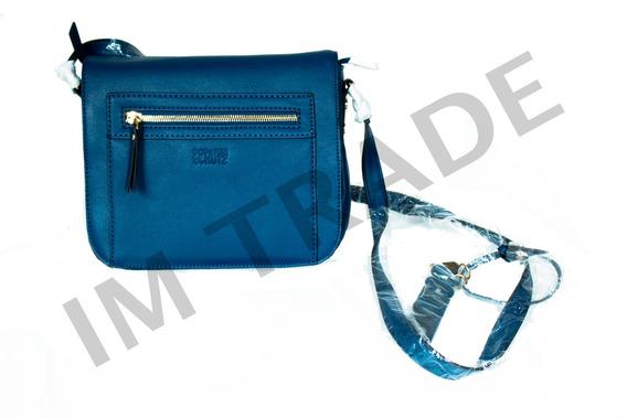 Bolsa Schutz De Couro Azul Com Detalhes Dourados.