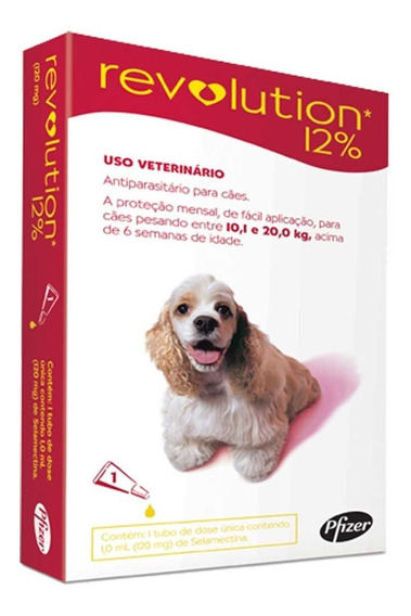 Revolution 12% Para Cães 10,1 A 20kg 1 Pipeta