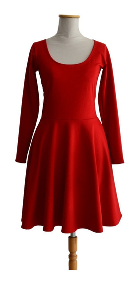 Vestido Plato Manga Larga Punto Roma Rojo Retro Pin Up