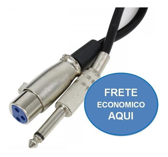 Cabo P10 Mono + Xlr Cannon Fêmea 5 Metros Microfone