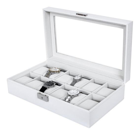 Estuche Reloj Caja Exhibidor Blanco Joyas Unisex 12 Ranuras
