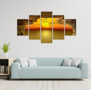 Cuadros Murales Puesta De Sol En El Mar 5 Murales 60 X 100