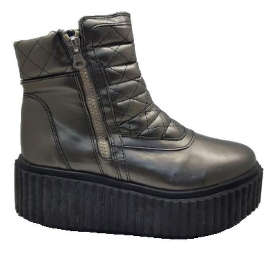 Plataformas Mujer Zapatos Borcegos Botas Con Cierre Charol