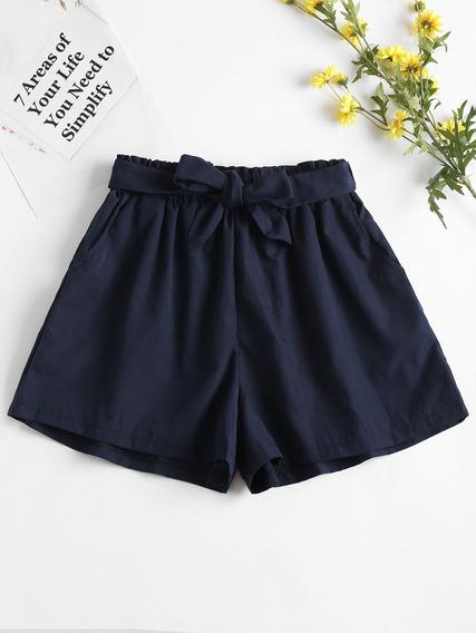 Zaful - Shorts De Bolsa De Papel