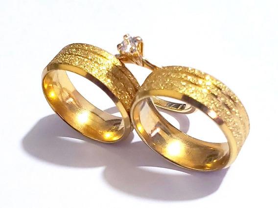 Par Alianças 8mm Casamento Ma Noivado Cor Ouro Banh Gravação