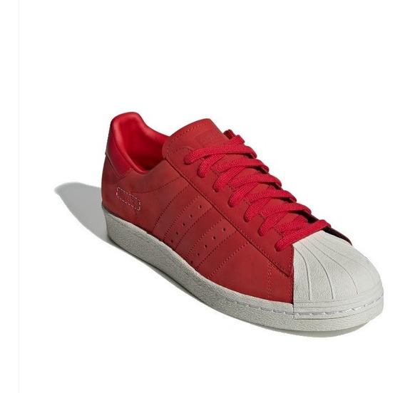 Tenis adidas Superstar 80s Piel Escarlata #28.5