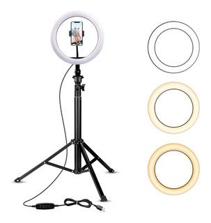 Aro De Luz Con Trípode Y Soporte Para Teléfono Para Selfie