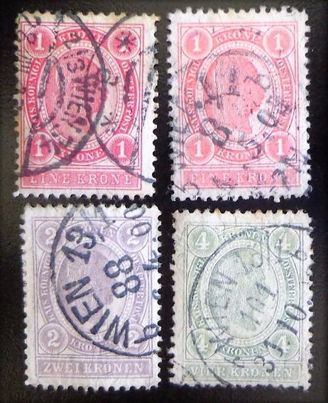 Austria, Serie Yv. 77-9 + 77a Cif Bcas 1899 Usada L10400