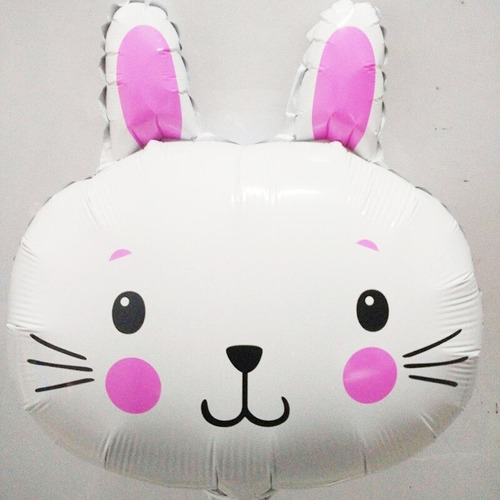 Globo Metalizado Cabeza Conejo Animales Bosque 45 Cm