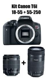 Kit Câmera Canon Eos Rebel T6i C/ 18-55 Mm + 55-250 Mm Stm