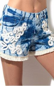 Shorts Jeans Bordado Premium Morena Rosa Ref: 202935