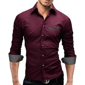 Camisa Social Masculina Forte Cor Vinho Slim Fit Manga Longa
