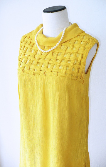 Vestido Amarillo Vintage Retro Amarillo Verano