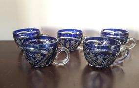 Xícaras Cristal Lapidado Azul 5pcs Antigas Lindas