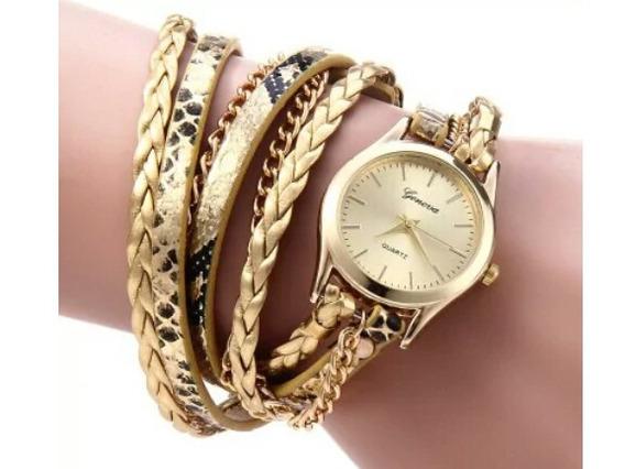 Relógio Quartz Feminino Com Bracelet Dourado