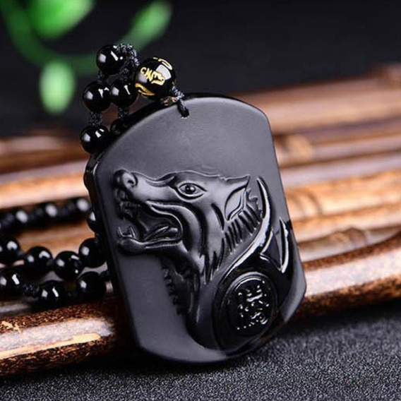Colar Masculino Cabeça De Lobo Pedra Obsidiana Negra
