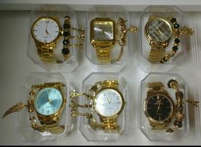 Kit C/5 Relógios Feminino Dourado+caixas+pulseira Atacado