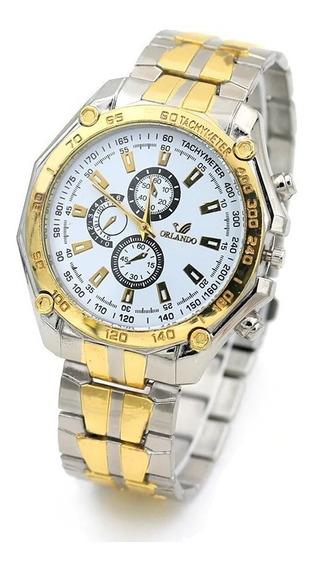 Relógio Quartz Masculino Aço Cromado Dourado M/ Orlando