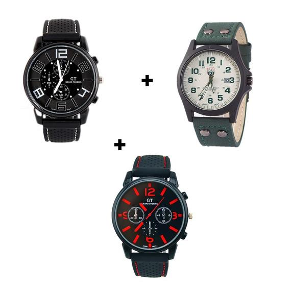 Três Relógios Masculinos Lindos Super Promoção Completo Kit